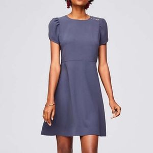 Loft Gray Fit and Flare Dress Puff Sleeves